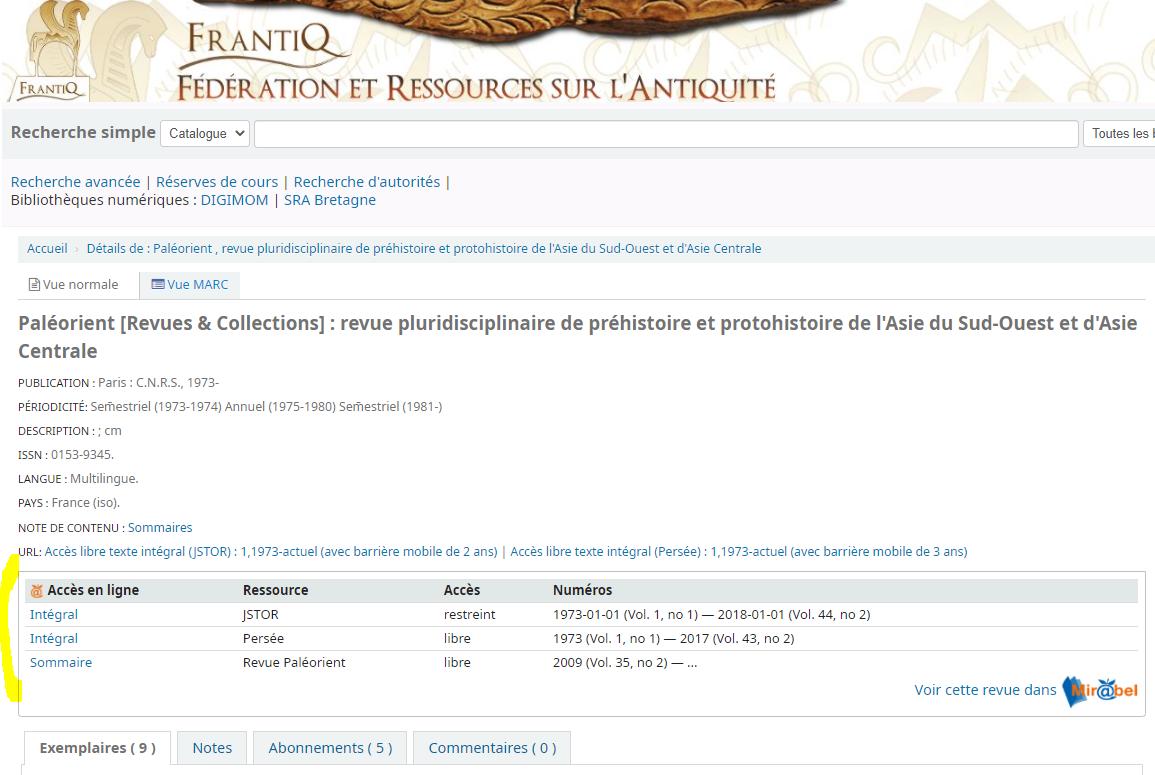 copie écran de la notice de Paléorient dans le CCI